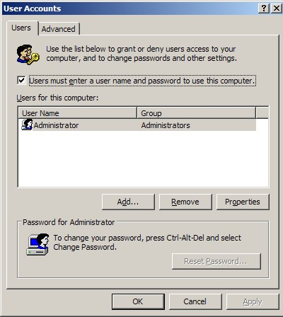 how to disable auto login in window xp