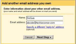 setup different from address in gmail