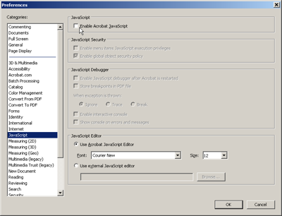 disable javascript, disable javascript pdf reader, disable javascript adobe