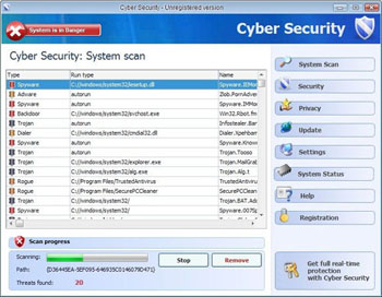 remove cyber security, uninstall cyber security, cyber security antispyware
