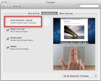 mac lion track pad reverse scrolling, trackpad reverse scrolling