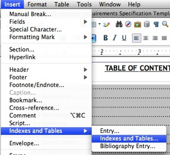 libreoffice table of contents command, table of content