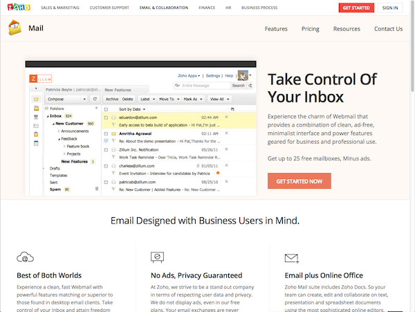 zoho mail preview
