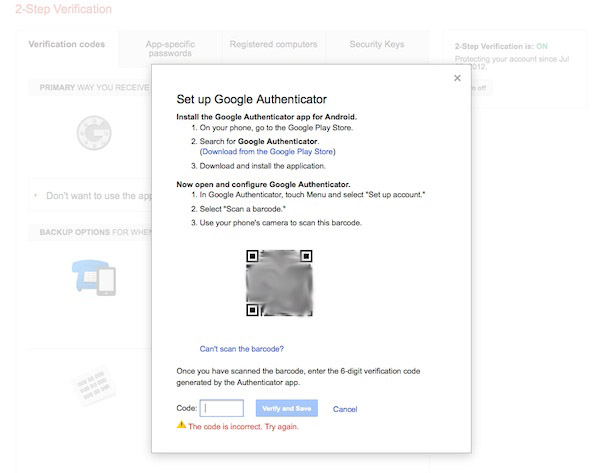 google authenticator code is- ncorrect